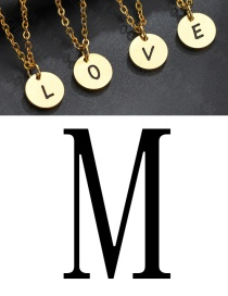 Fashion Golden M Letter Corrosion Dripping Round Medal Pendant