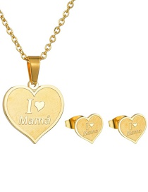 Fashion Gold Mama Love Necklace Earrings Set