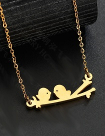 Fashion Compact Color Twig Two Bird Necklace