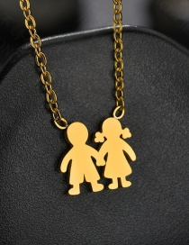Fashion Gold Glossy Boy Girl Holding Necklace