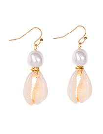 Fashion Gold Alloy Pearl Shell Earrings