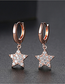Fashion Rose Gold Pentagonal Earrings