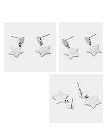 Fashion Steel Color Engraved Letter Pentagram Earrings