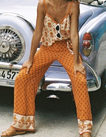 Fashion Orange Floral Wide-leg Pants