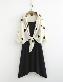 Fashion Black Polka Dot Chiffon Sunscreen Shirt + Long Sling Dress Two-piece Set
