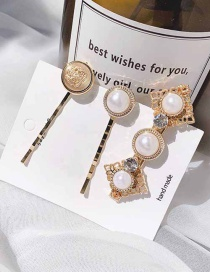 Fashion Hollow Imitation Pearl - 3 Piece Set Imitation Pearl Hollow Hair Clip
