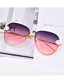 Fashion Purple + Pink Alloy Resin Pearl Gradient Half Frame Sunglasses