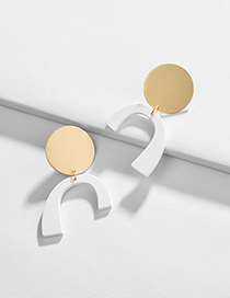 Fashion White Geometric Paint Stitching Contrast Color Earrings