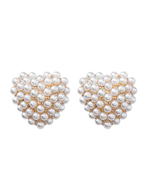 Fashion White S925 Silver Needle Pearl Heart Earrings