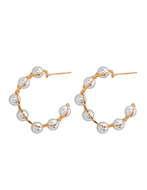 Fashion Pearl S925 Silver Needle Wrapped Pearl Semi-arc Crystal Earrings