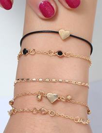 Fashion Gold Alloy Wax Rope Love Bracelet Set