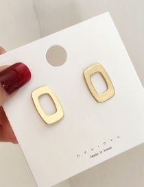 Fashion Gold Matte Hollow Square Earrings