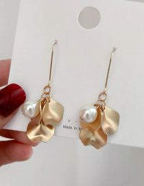 Fashion Gold Fringed Flower Pearl Sequin Earrings