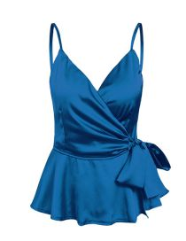 Fashion Blue Silky Satin Ruffled Camisole