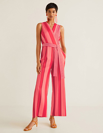 Fashion Red Striped Jumpsuit