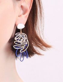 Fashion Blue Irregular Hollow Pattern Stud Earrings