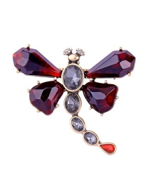 Fashion Red Plating And Diamond Brooch