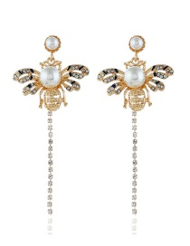 Fashion Gold Studded Fringed Bee Stud Earrings