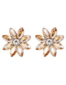 Fashion Champagne Diamond Flower Earrings