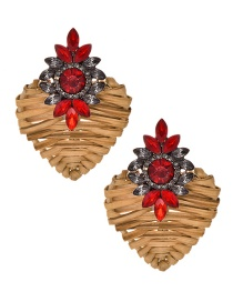 Fashion Red Alloy Diamond-studded Wooden Love Earrings