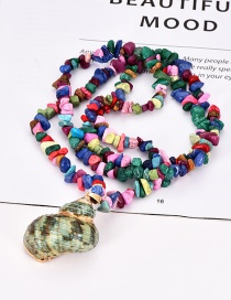Fashion Color Natural Stone Beaded Conch Necklace