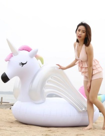 Fashion Rainbow Horse Inflatable Floating Row Mount Swimming Ring