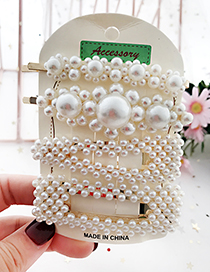 Fashion White Alloy Pearl Hair Clip Four-piece