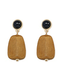 Fashion Brown Wooden Inlaid Pearl Stud Earrings