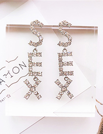 Fashion Silver Sex Letter With Drill Earrings