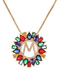 Fashion Golden M Copper Inlaid Zircon Letter Necklace