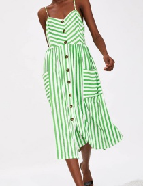 Fashion Green Striped Button Dress