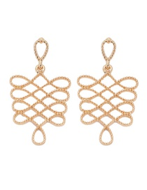 Fashion Gold Hollow Chinese Knot Earrings