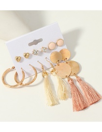Fashion Gold Tassel Earrings Set Of 6