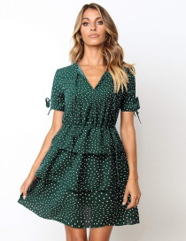 Fashion Green Printed Polka Dot Straps Ruffled Dress