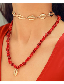 Fashion Red Alloy Resin Shell Double Necklace