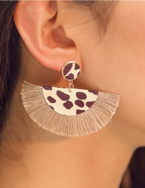 Fashion Coffee Color Alloy Leopard Short Tassel Earrings