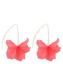 Fashion Pink Alloy Resin Flower Earrings