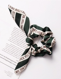 Fashion Letter Rabbit Ears Green Printed Bow Tie