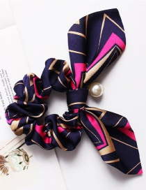 Fashion Geometric Pearl Navy Printed Bow Long Ribbon Hair Band
