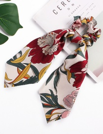 Fashion Han Dahua Ribbon Ribbon Beige Satin Printed Silk Scarf Large Intestine Hair Ring