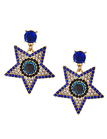 Fashion Blue Diamond Stud Earrings