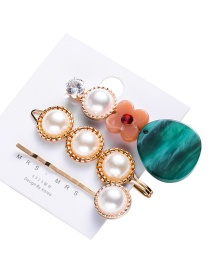 Fashion Gold Color Geometric Acrylic Pearl Hair Clip Set