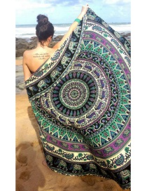 Fashion 33 Dark Green Round Peacock Flower Beach Towel