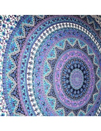 Fashion 34 Hole Blue Color Round Peacock Flower Beach Towel