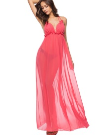 Fashion Watermelon Red Halter Open Back Dress