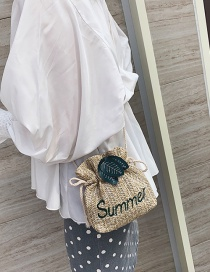 Fashion Khaki Straw Leaf Leaf Shoulder Messenger Bag