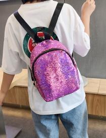 Fashion Purple Sequined Shoulder Bag