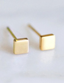 Fashion Gold Stainless Steel Square Earrings
