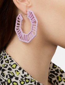Fashion Purple Hollow Section Dyed Colored Woven Earrings