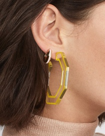 Fashion Yellow Transparent Geometric C-color Colored Earrings